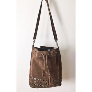 Bucket Bag Brown Suede Metal Rivets By Attention
